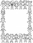Kids Friendship Border-outline