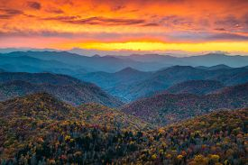 stock photo of smoky mountain  - North Carolina Blue Ridge Parkway Mountains Sunset Scenic Landscape near Asheville NC during the autumn fall foliage