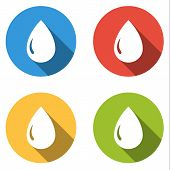 pic of drop oil  - Set of 4 isolated flat colorful buttons  - JPG