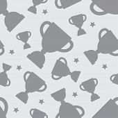stock photo of grayscale  - Seamless pattern with winners cup and stars in flat design style - JPG