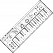 image of analogy  - vector grey color outline piano roll analog synthesizer faders buttons knobs display white background  - JPG