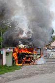 pic of fire insurance  - Burning car - JPG