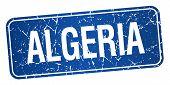 stock photo of algeria  - Algeria blue stamp isolated on white background - JPG