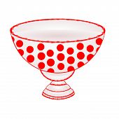 stock photo of ceramic bowl  - Bowl of fruit with red dots ceramic tableware vector illustration - JPG