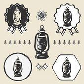 stock photo of kerosene lamp  - Kerosene lamp lantern vintage symbol emblem label collection set - JPG
