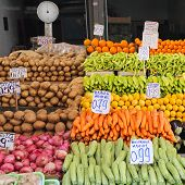 stock photo of farmers market vegetables  - Fruits and Vegetables at Farmers Market Stall - JPG