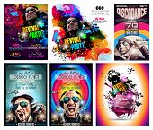 pic of clubbing  - Club Disco Flyer Set with DJ shape and Colorful Scalable backgrounds - JPG