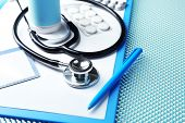stock photo of medical supplies  - Medical supplies on blue table close - JPG