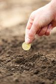 stock photo of rich soil  - Female hand planting coin into soil - JPG