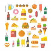 picture of junk  - Flat design of junk food set illustration vector - JPG