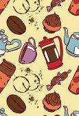 Постер, плакат: Coffee Coffee theme Desserts Vector seamless illustration