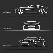 pic of muscle-car  - Set of modern white sports car silhouettes isolated on dark background - JPG