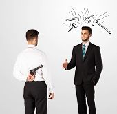 stock photo of backstabbers  - Ruthless businessman hiding a weapon white drawn beating hammer marks - JPG