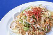 stock photo of catfish  - Spicy Crispy Catfish in white plate on blue background - JPG