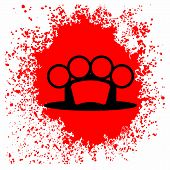 image of brass knuckles  - Brass Knuckle  Icon and Blood Drop Isolated on White Background - JPG