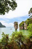 image of james bond island  - High angle view beautiful landscape sea and sky at Khao Tapu or James Bond Island in Ao Phang Nga Bay National Park Thailand - JPG