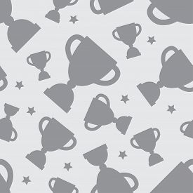 picture of grayscale  - Seamless pattern with winners cup and stars in flat design style - JPG