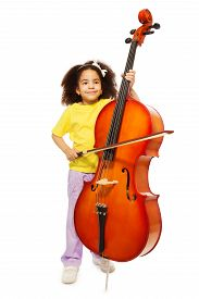 stock photo of cello  - Beautiful African girl holding cello with fiddlestick ready to play standing on the white background - JPG