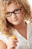 Beautiful pudgy caucasian student girl isolated on white background