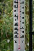 Garden thermometer in a heatwave