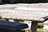 Row Of Cement Benches