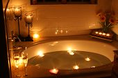 image of bath tub  - candles arranged in and around a bath tub - JPG