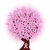Vector Illustration Of A Breast Cancer Pink Ribbon Tree poster