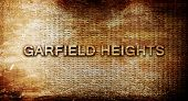 ������, ������: garfield heights 3D rendering text on a metal background