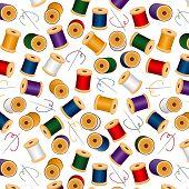 Sem costura agulhas & Threads de fundo, branco