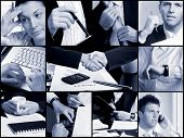 Conceptual image-grid of business photos: hands.