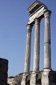 Three columns of the Temple of the Dioscuri.
