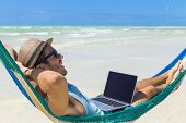 Man working with a laptop, on a hammock in the beach. Concept of digital nomad, remote worker, indep poster