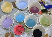 Colorful Cups Of Paint