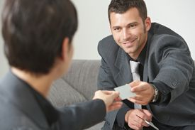 stock photo of business meetings  - Business meeting at office lobby - JPG