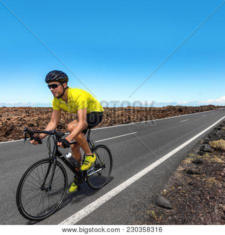 Road biking cyclist man training