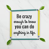 Inspirational Motivational Quote be Crazy Enough To Know You Can Do Anything In Life On Green Leav poster