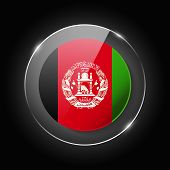 Afganistan National Flag. Application Language Symbol. Country Of Manufacture Icon. Round Glossy Iso poster