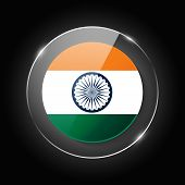 India National Flag. Application Language Symbol. Country Of Manufacture Icon. Round Glossy Isolated poster