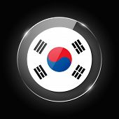 South Korea National Flag. Application Language Symbol. Country Of Manufacture Icon. Round Glossy Is poster