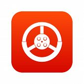 Steering Wheel Icon Digital Red For Any Design Isolated On White Vector Illustration poster