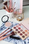 Cosmetics. Makeup. Dressing Table. Home Decor. Candle, Eyeshadow, Makeup Brushes Lipstick Powder Rad poster