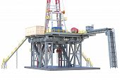 Land Rig Drilling Well Power Equipment, Close View. 3d Rendering poster