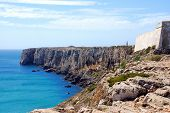 The Monumental Cliffs At Coast Near Sagres Point In Portugal
