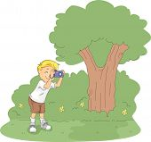 Illustration of a Kid Taking Pictures in a Camp