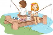 Illustration of Kids Fishing