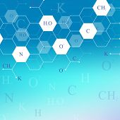 Scientific Hexagonal Chemistry Pattern. Structure Molecule Dna Research As Concept. Science And Tech poster