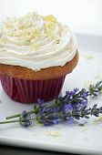 Cupcake With Buttercream And Lavender