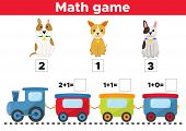 Counting Game For Preschool Kids. Help The Dogs Find The Right Train Car. Educational Math Game. Vec poster