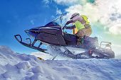 Extreme Sport For Lifestyle Design. Winter Extreme Sport Snowmobile Racing. Sport Winter Background  poster