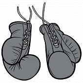 Vintage Boxing Gloves Illustration - A Vector Cartoon Illustration Of A Pair Of Vintage Boxing Glove poster